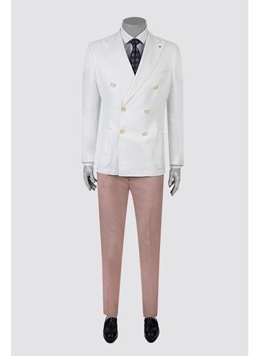 D'S Damat Slim Fit  Düz Takım Elbise Ekru
